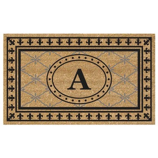 SuperScraper Bungalow Coir and Black Vinyl Monogrammed Mat (36 in. x 20 in.)
