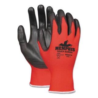 Memphis Touch Screen Nylon/Polyurethane Gloves, Black/Red, Small