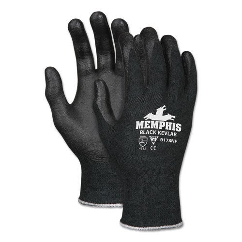 Memphis Kevlar Gloves 9178NF, Kevlar/Nitrile Foam, Black, Medium