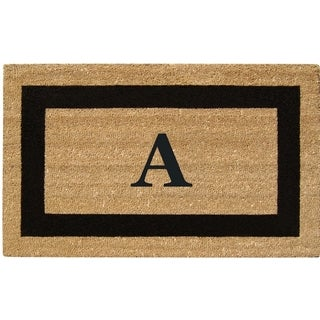 SuperScraper Black Monogrammed Brown Coir Welcome Mat (46 in. x 20 in.)
