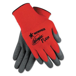 Memphis Ninja Flex Latex Coated Palm Gloves N9680L, Large, Red/Gray, 1 Dozen