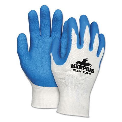 Memphis Flex Tuff Work Gloves, White/Blue, Medium, 10 gauge, 1 Dozen
