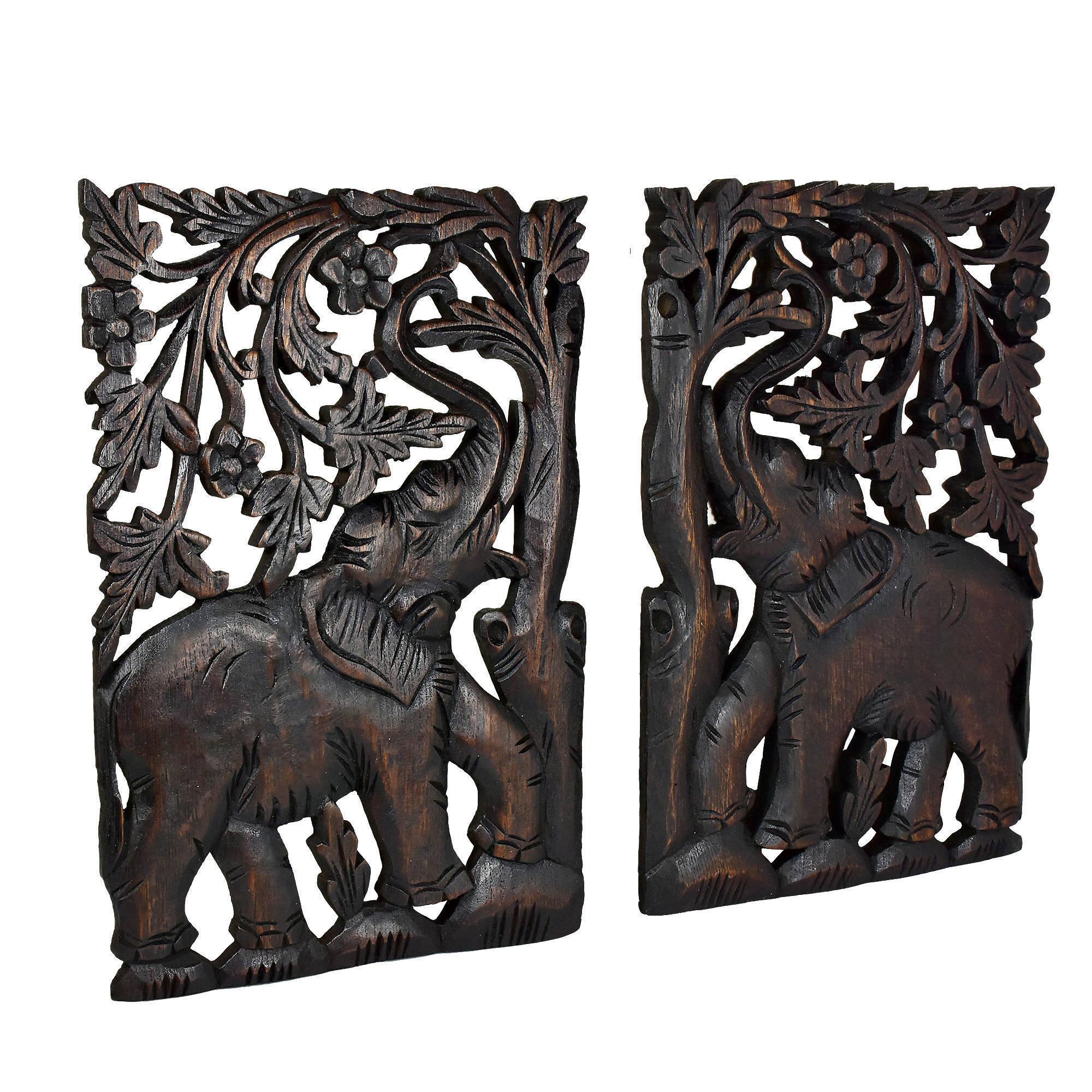 Elephant Hand Carved Wood Wall Art