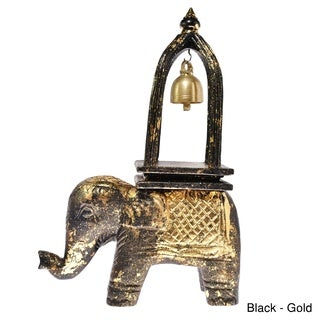 Elephant Ring of Good Fortune Bell Carved Wood Sculpture (Thailand)