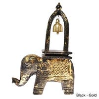 Handmade Elephant Ring of Good Fortune Bell Carved Wood Sculpture (Thailand)