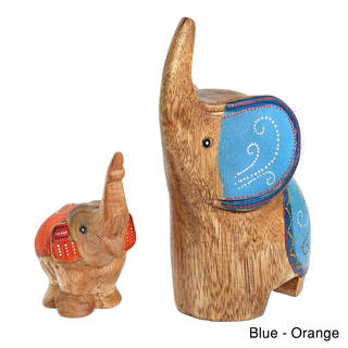 Two Elephants Mom And Baby Carved Wood Figurine Sculpture (Thailand)