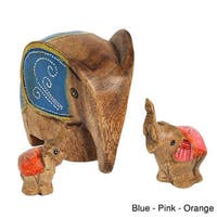 Set of 3 Spring Elephant Family Carved Wood Handmade Figurine Sculpture (Thailand)