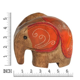 Set of 3 Spring Elephant Family Carved Wood Hand Painted Figurine Sculpture (Thailand)