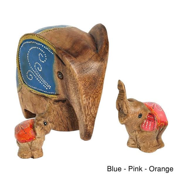 Set of 3 Spring Elephant Family Carved Wood Handmade Figurine Sculpture (Thailand)