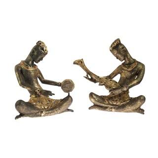 Handmade Royal Musicians of Siam Wood Golden Figurine Sculpture (Thailand)