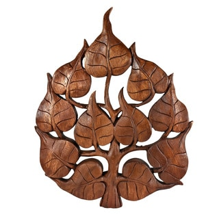 Enlighten Pho Bodhi Tree Leaf Hand Carved Wall Art (Thailand)