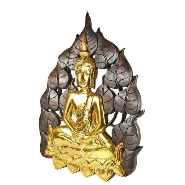 AeraVida Serene Face of Buddha Brown Pho Bodhi Tree Leaf Wall Art