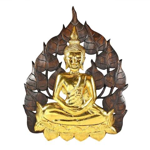 Handmade Enlightened Golden Buddha Bodhi Tree Leaf Wall Art (Thailand)