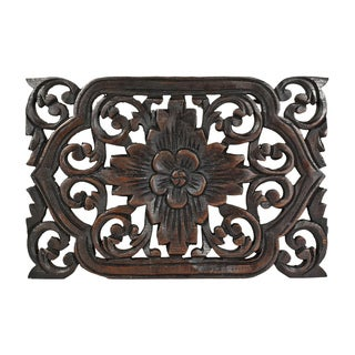 Thai Daisy Floral Hand Carved Teak Wood Wall Art 12x8 (Thailand)