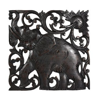 Victorious Elephant Hand Carved Square Teak Wood Wall Art 10inch (Thailand)