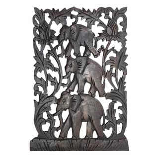 Loving Triple Elephant Family Hand Carved Relief Panel Wood Wall Art 12x18 (Thailand)|https://ak1.ostkcdn.com/images/products/13682184/P20346166.jpg?impolicy=medium