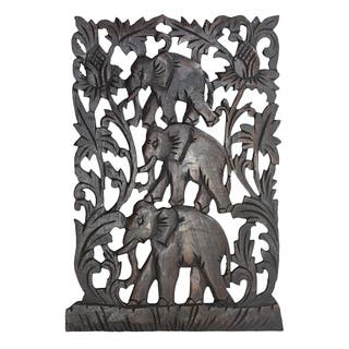 Loving Triple Elephant Family Hand Carved Relief Panel Wood Wall Art 12x18 (Thailand)
