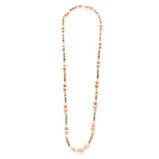 14K Yellow Gold Coral Beads and Chain Links Estate Necklace
