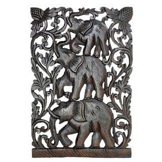 Joyful Circus Elephant Family Handmade Relief Panel Wood Wall Art 12x18 (Thailand) https://ak1.ostkcdn.com/images/products/13682194/P20346359.jpg?impolicy=medium
