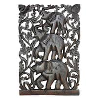 Joyful Circus Elephant Family Handmade Relief Panel Wood Wall Art 12x18 (Thailand)