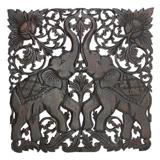 Majestic Twin Royal Elephant Hand Carved Teak Wood Wall Art 2FT (Thailand)