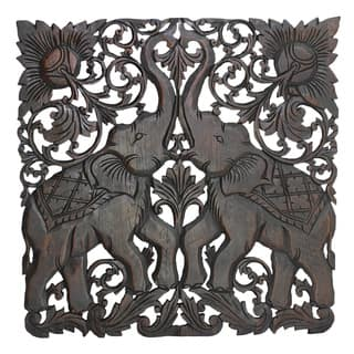 Majestic Twin Royal Elephant Handmade Teak Wood Wall Art 2FT (Thailand)|https://ak1.ostkcdn.com/images/products/13682205/P20346363.jpg?impolicy=medium