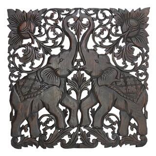 Majestic Twin Royal Elephant Handmade Teak Wood Wall Art 2FT (Thailand)