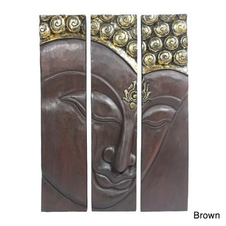 Buddha Face Three Panel Hand carved Wood Wall Art 20x30 (Thailand)