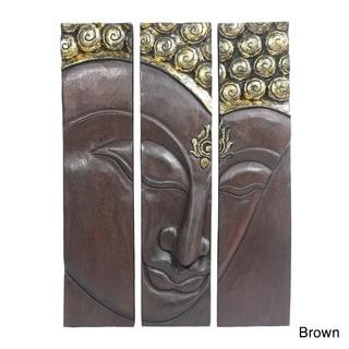Buddha Face Three Panel Handmade Wood Wall Art 20x30 (Thailand)