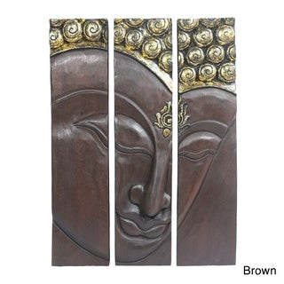 Buddha Face Three Panel Handmade Wood Wall Art 20x30 (Thailand)