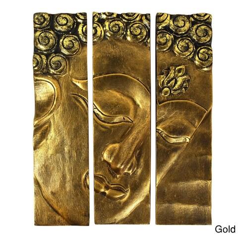 Buddha Face Three-Panel Hanging Handmade Wall Art 12x15 (Thailand)