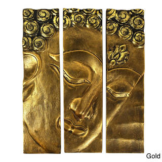Buddha Face Three-Panel Hanging Handmade Wall Art 12x15 (Thailand)