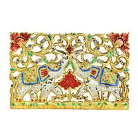 Duality Royal Elephant Handmade Gold Teak Wood Wall Art (Thailand)