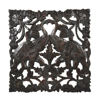 Thai Elephant Wildlife Hand Carved Teak Wood Wall Art (Thailand)