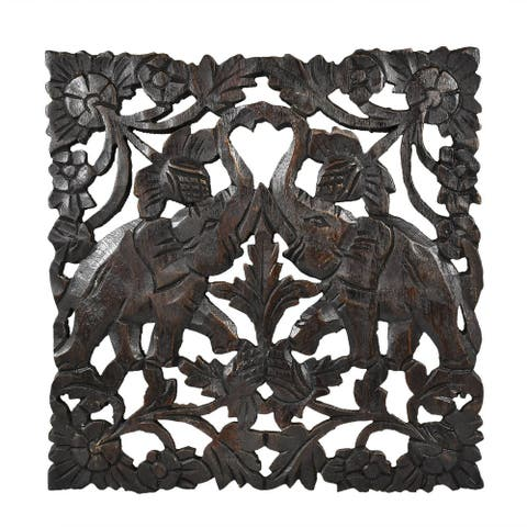 Thai Elephant Wildlife Handmade Teak Wood Wall Art (Thailand)