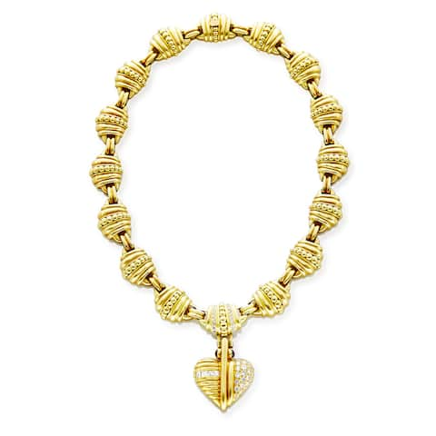 Judith Ripka 18k Yellow Gold 2 1/5ct TDW Diamond and Ruby Heart Pendant and Gold Link Estate Necklace (G-H, VS1-VS2)