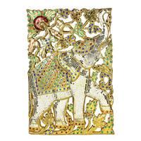 Elephant Garden Gilded Gold Handmade Wood Wall Art (Thailand)