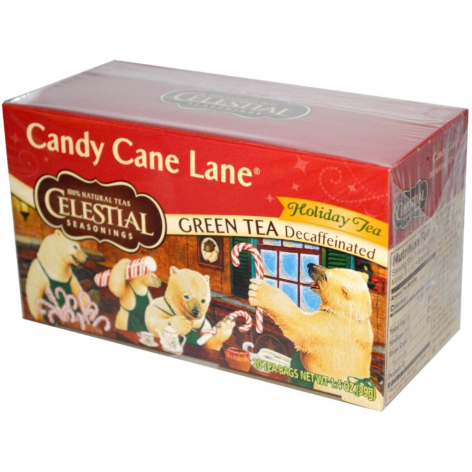Celestial Seasonings Candy Cane Lane Decaf Green Holiday ...