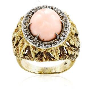 18k Yellow Gold 1/2ct TDW Diamond and Coral Leaf Patterned Estate Ring Size 8 (I-J, SI1-SI2)