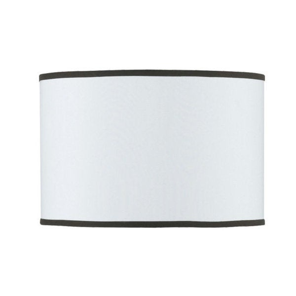 White Fabric Hardback Drum Lampshade