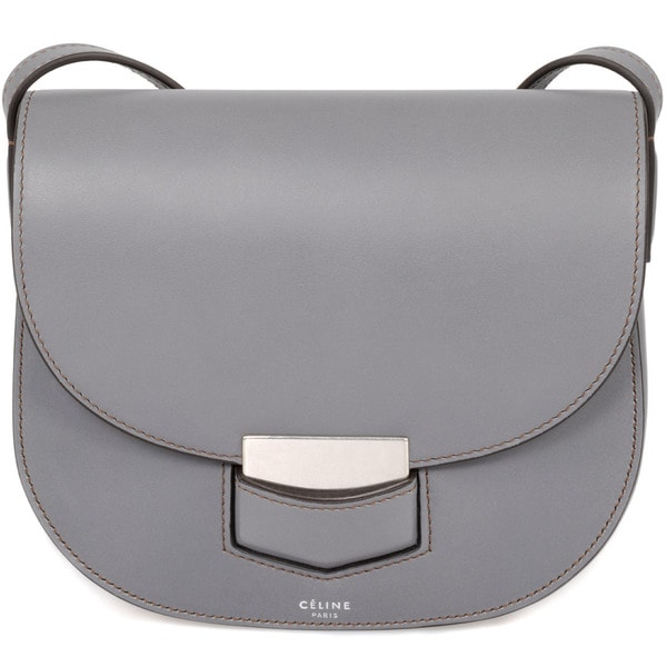 celine gray ryg1  Celine Trotteur Small Smooth Grey Calfskin Leather Crossbody Handbag