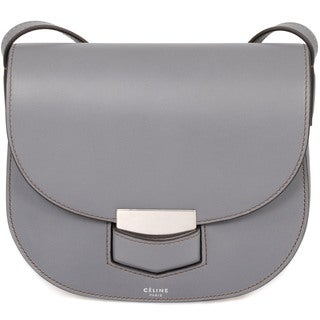 Celine Trotteur Small Smooth Grey Calfskin Leather Crossbody Handbag