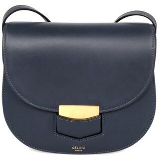 Celine Trotteur Small Navy Calfskin Leather Crossbody Handbag