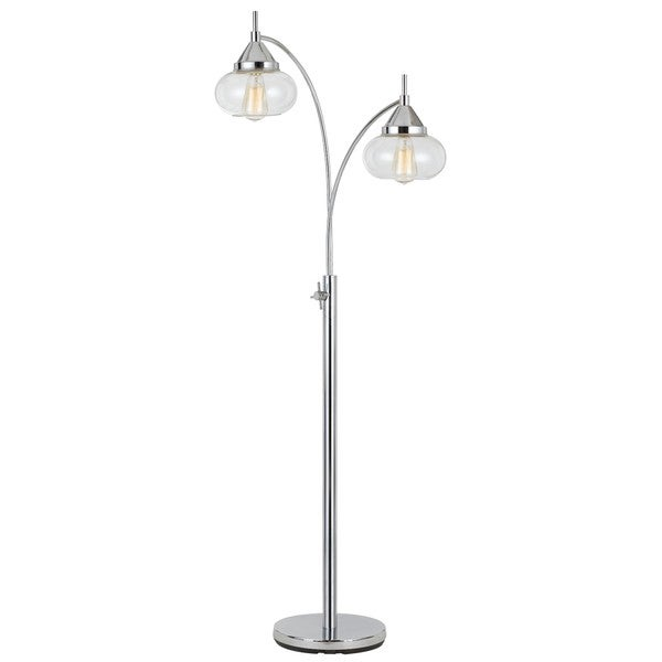 Maywood Silver Metal 2-light 60-watt Floor Lamp