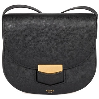 Celine Trotteur Small Black Grained Calfskin Leather Crossbody Handbag