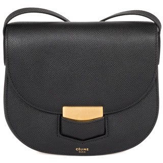 Celine Trotteur Small Black Grained Calfskin Leather Crossbody Handbag