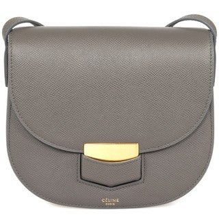 Celine Trotteur Small Gray Grained Calfskin Leather Crossbody Handbag