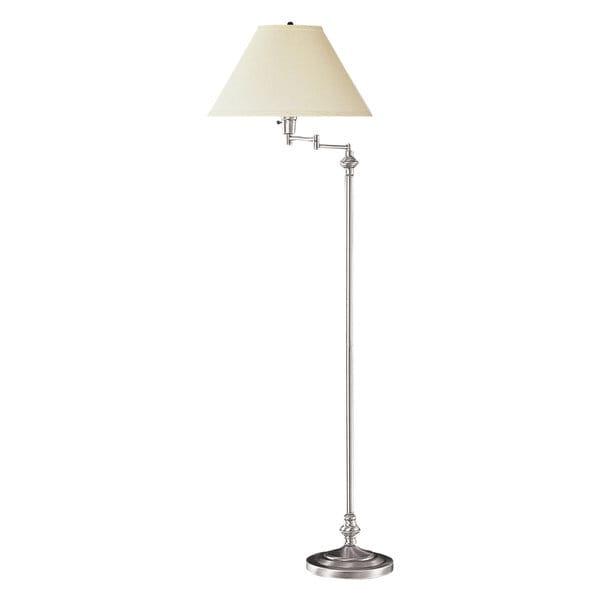 Off-white/Silver Metal Three-way Swing Arm Floor Lamp