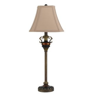 Tan/Brown Resin Traditional Floor Lamp (Set of 2)
