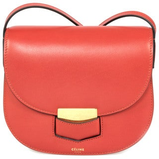 Celine Trotteur Small Red Calfskin Leather Crossbody Handbag